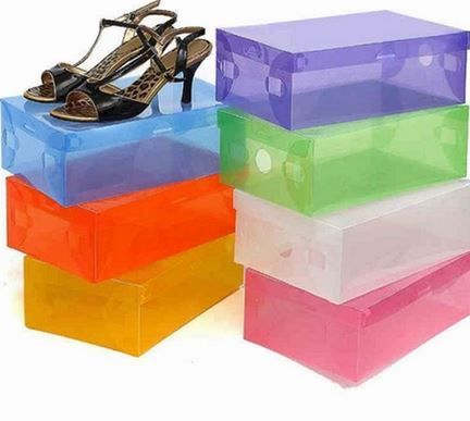 colored aacrylic shoe boxes
